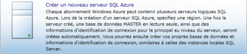 Créer un nouveau serveur SQL Azure