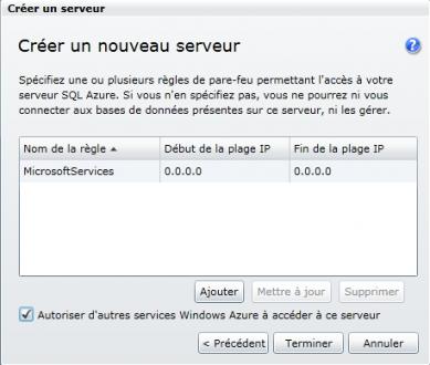 Accès au serveur SQL Azure