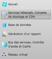 Plateforme Azure - Menu Services hébergés et comptes de stockage
