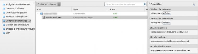 Affichage des comptes de stockage Azure