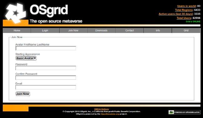 Nouvelle page inscription sur OsGrid