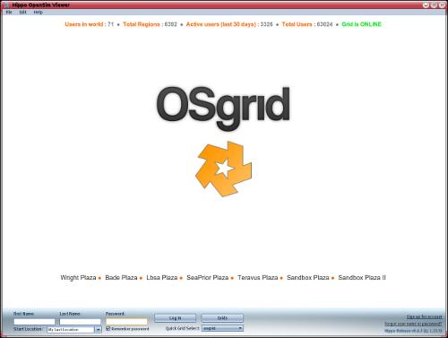 Page d'accueil d'Osgrid