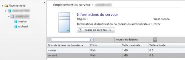 Affichage des bases de données SQL Azure