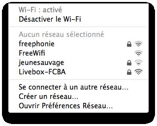 Liste de réseaux Wi-Fi