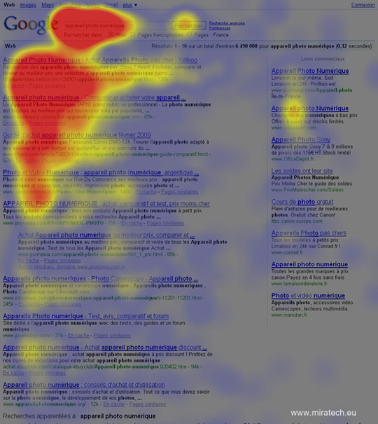Eye Tracking mené par Miratech sur la SERP (Search Engine Results Page) de Google !