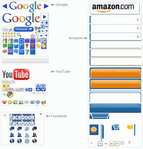 Les sprites CSS de plusieurs grands sites, dont Google