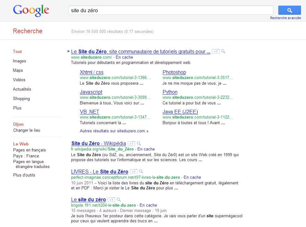 La SERP de Google est mise en page grâce à la balise <title>