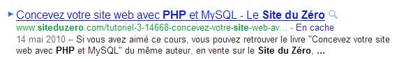 L'URL, systématiquement visible dans le résultat de recherche de Google