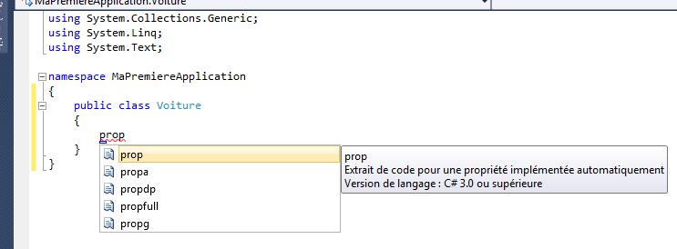 L'extrait de code pour créer une propriété auto-implémentée