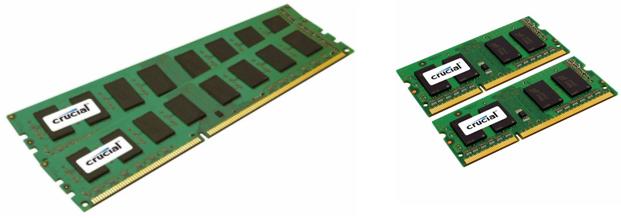 À gauche deux barrettes au format DIMM, à droite deux barrettes au format SO-DIMM