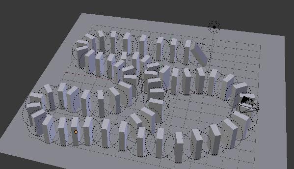 Placez votre chaîne de dominos en les dupliquant et laissez le premier légèrement penché…