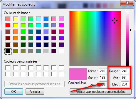 Sélection d'une couleur dans Paint