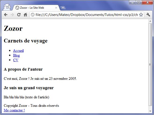 Une page HTML sans CSS