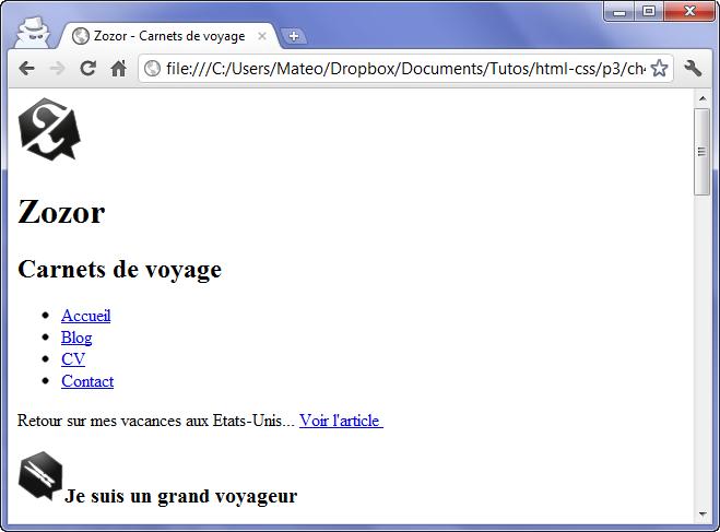 Apparence du site web constitué uniquement du HTML