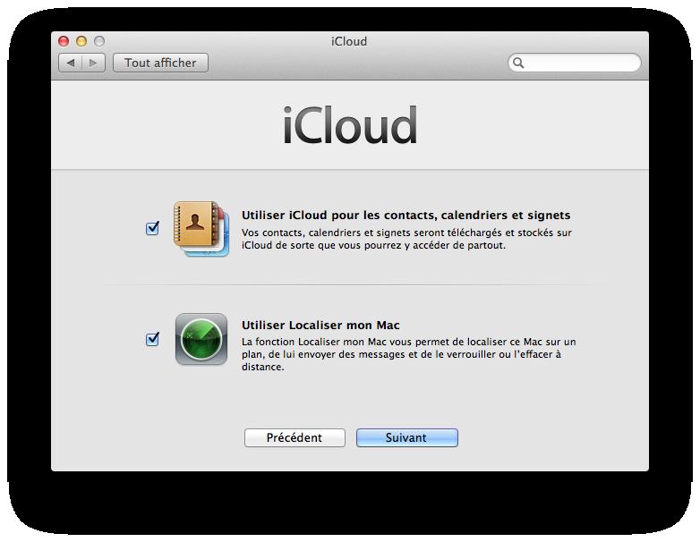Choix des services d'iCloud