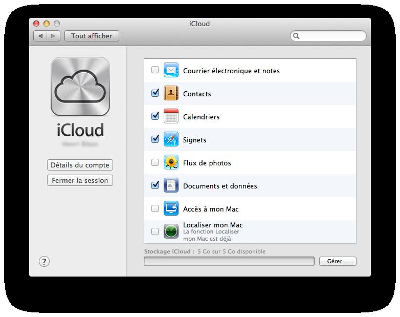 Écran principal d'iCloud : liste des services
