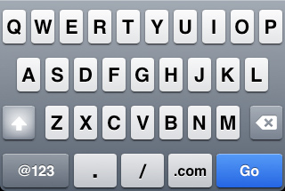 iPhone URL entry keyboard