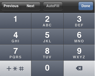 iPhone phone number entry keyboard