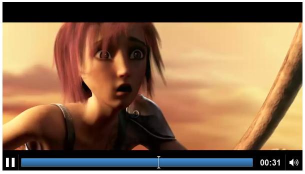 Une vidéo avec les options de lecture et une taille définie
