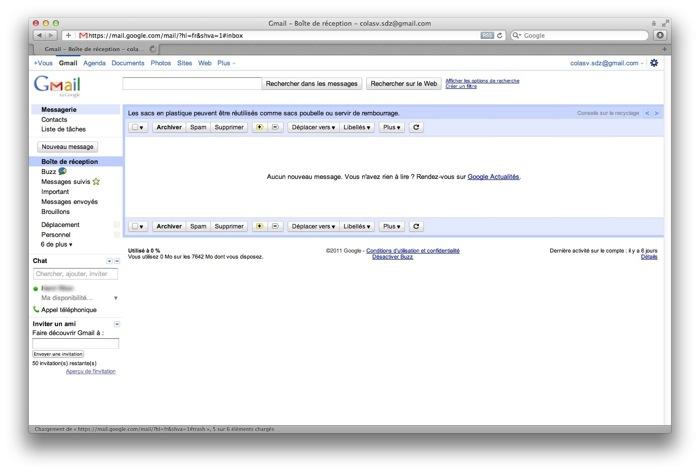 Une webmail : Gmail
