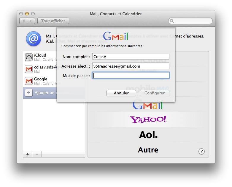 Ajout d'un compte Gmail dans Mail