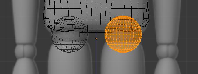 Ajouter des sphères pour lier les cuisses au buste