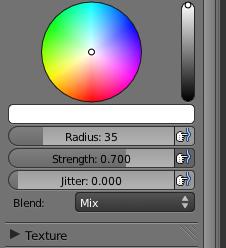 Le volet de peinture avec la palette de couleurs et les réglages du pinceau