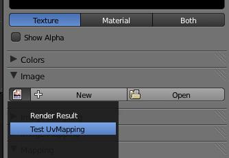 Dans le menu des textures, indiquez quelle image utiliser