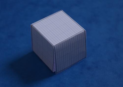 Et voici le cube formé grâce au patron : en 3D