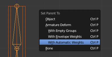 Le parentage mesh-armature avec l'Automatic Weights
