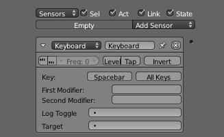 Ajouter un Sensor Keyboard permet de définir la touche de tir