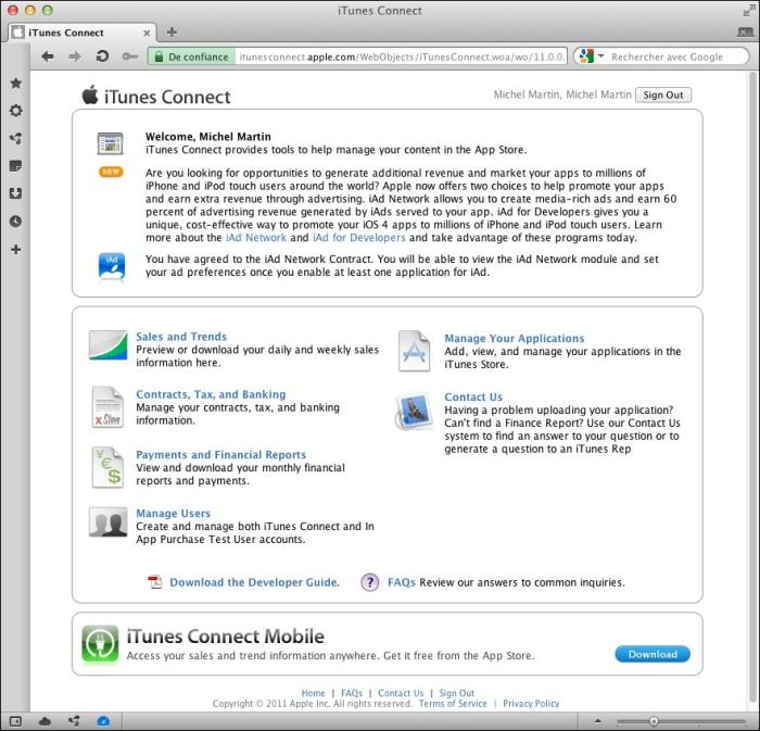 Le portail iTunes Connect