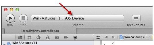 Sélectionnez iOS Device dans la liste déroulante Scheme