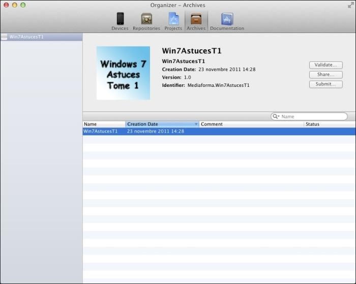 L'application est affichée dans la fenêtre Organizer