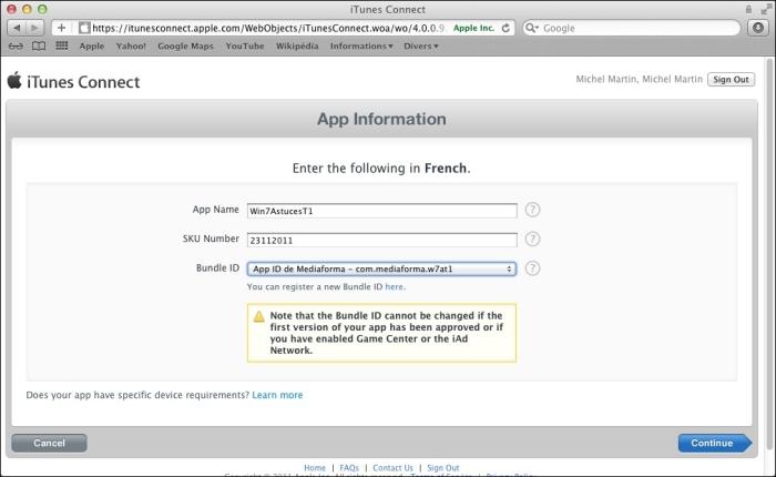 Sélectionnez le Bundle ID de l'application dans la liste déroulante