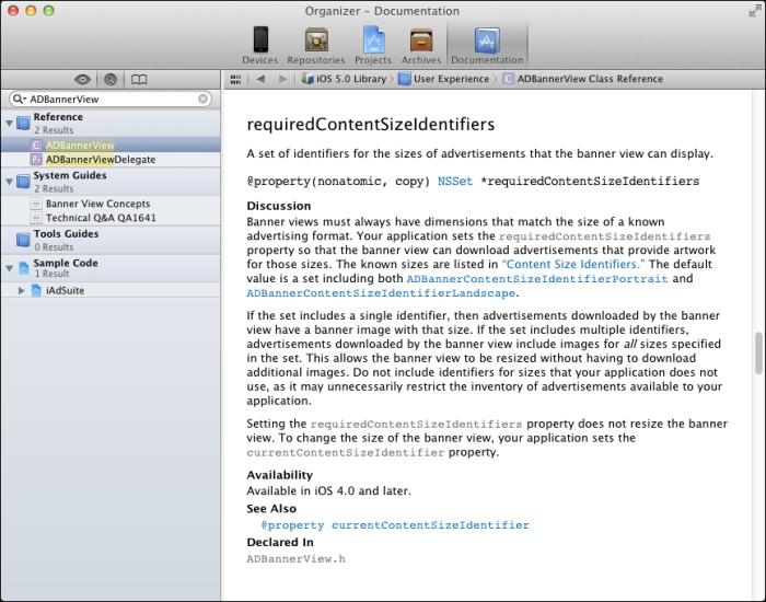 L'aide d'Apple concernant la classe ADBannerView