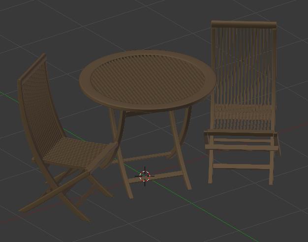 La table et les chaises qui serviront d'exemple pour l'éclairage studio