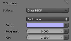 Le matériau Glass permet de régler l'indice de réfraction et la rugosité de la surface