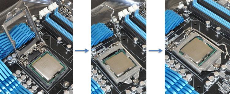 Positionnement du CPU, fermeture du capot et verrouillage du levier
