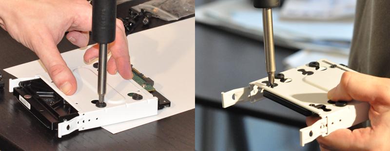 Montage du disque dur et du SSD sur leur tiroir