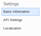 Menu API settings