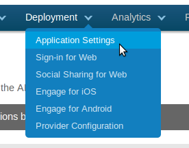Menu deployment -> application settings