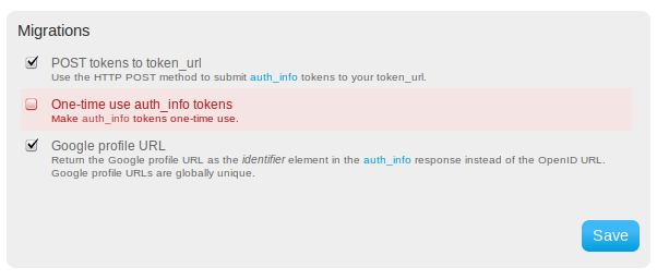 One-time use auth_info tokens