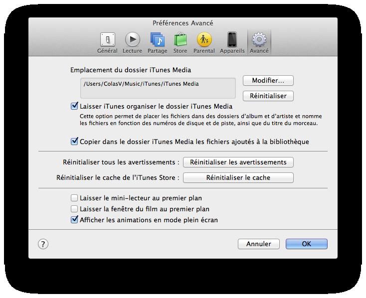 Préférences iTunes Avancé