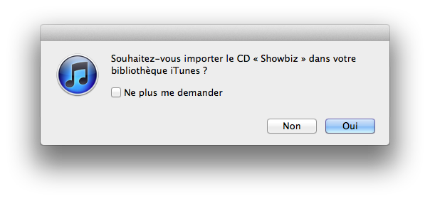 Importation de l'album « Showbiz »