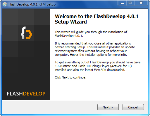 Installation de FlashDevelop : étape 1