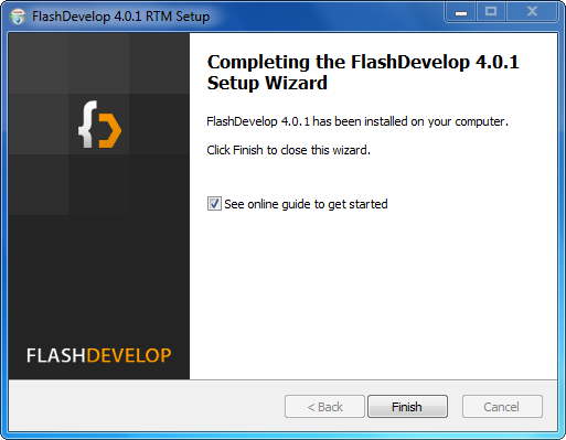 Installation de FlashDevelop : étape 5