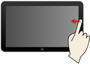 Faire apparaître le menu Charms avec un écran tactile