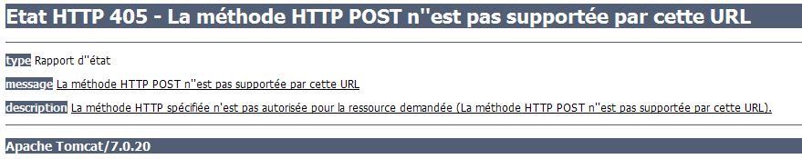 Code d'erreur HTTP 405