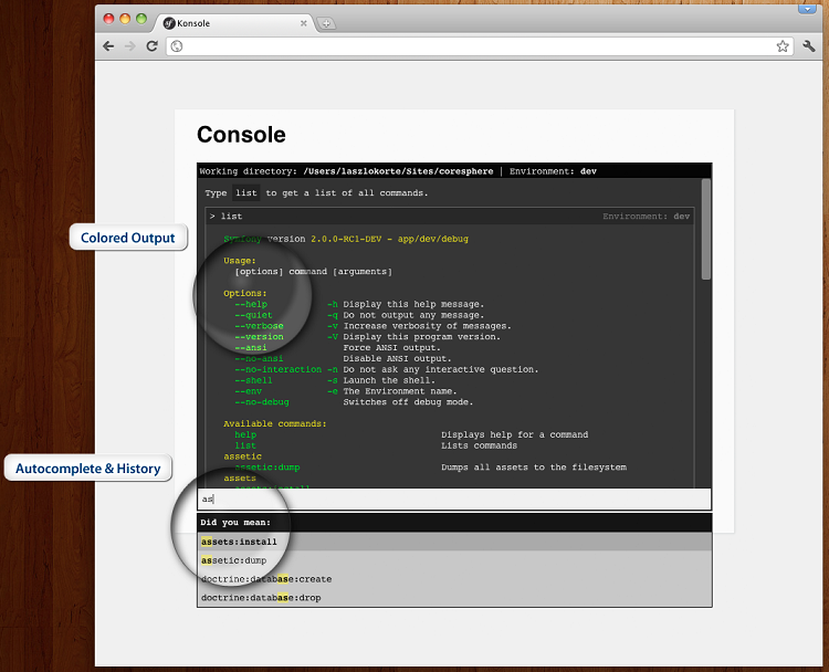 Interface de CoreSphereConsoleBundle